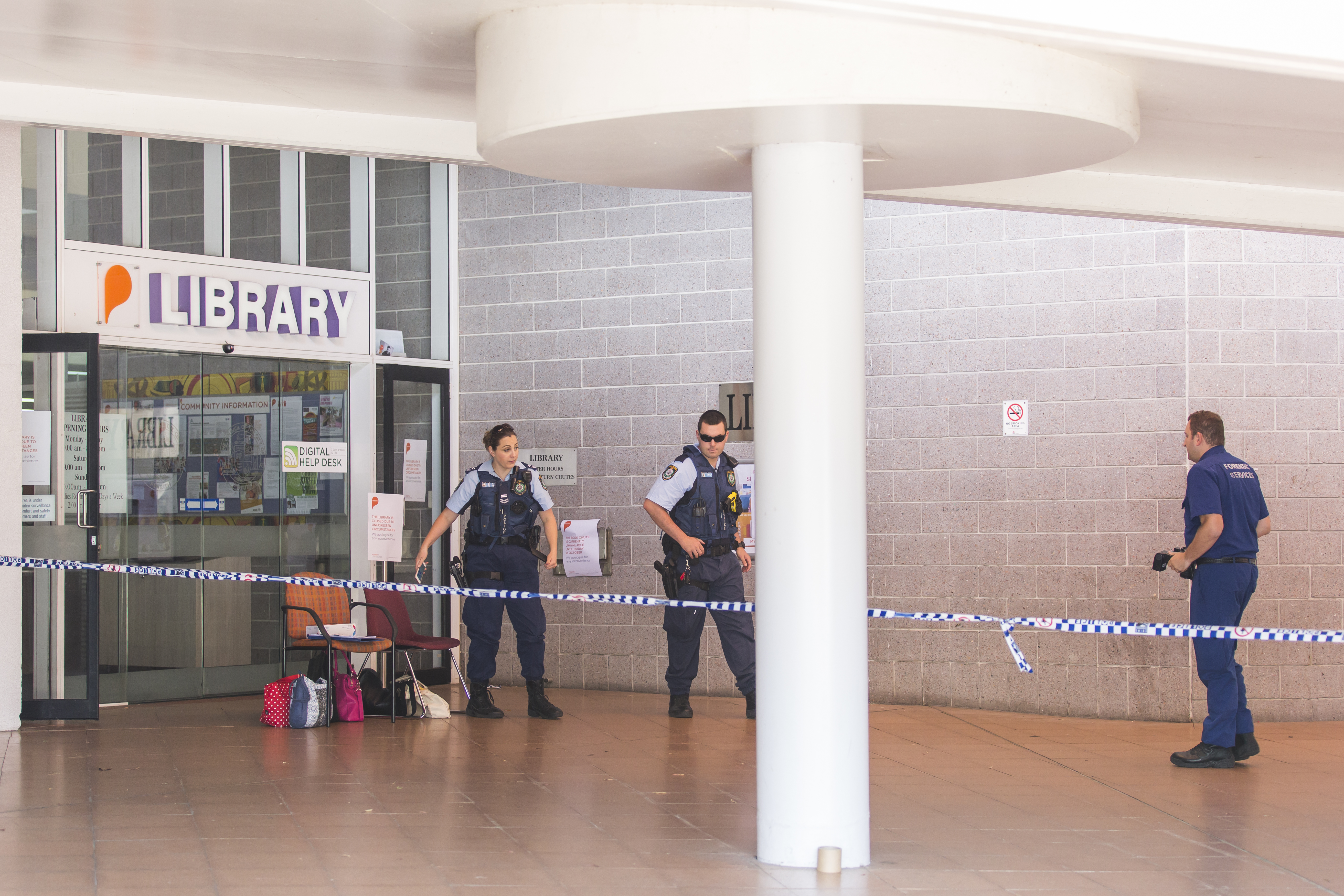 Penrith police officers on the scene after the break and enter. Photo: Megan Dunn