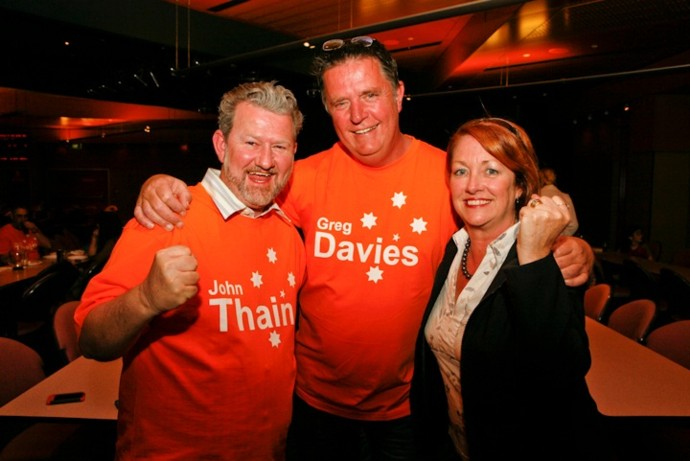 John Thain, Greg Davies and Karen McKeown (File Photo)