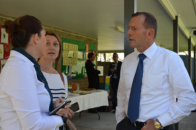 Prime Minister Tony Abbott during a visit to Penrith