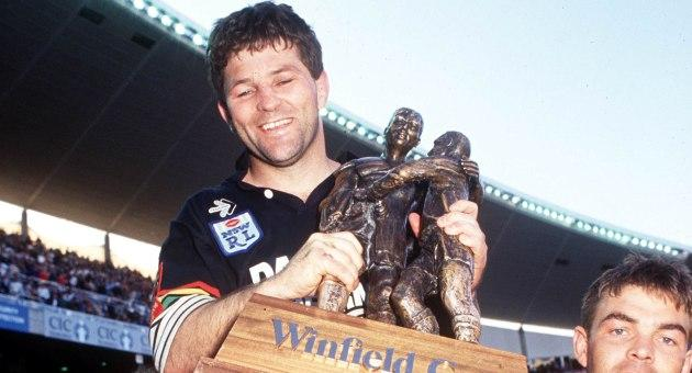 Royce Simmons with the 1991 premiership trophy