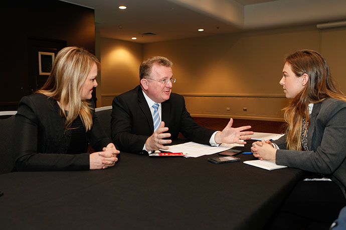 Fiona Scott and Bruce Billson chat with Weekender journalist Dale Drinkwater