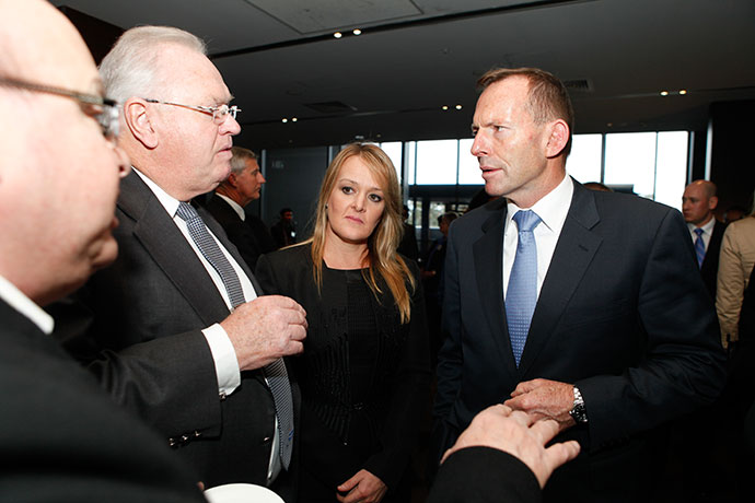 Tony Abbott and Fiona Scott chat with Councillor Jim Aitken