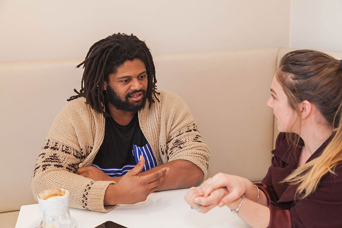 Jamal Idris speaking with Weekender journalist Dale Drinkwater. Photo: Megan Dunn