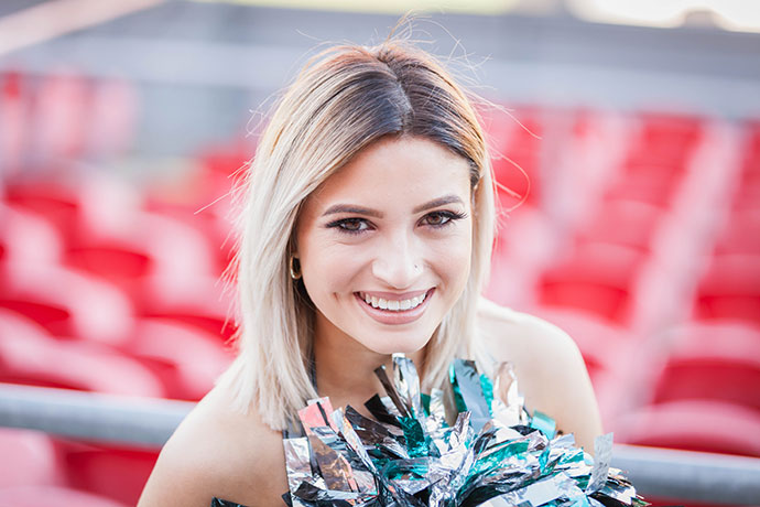 Penrith Panthers cheerleader Jessica Gilarte. Photo: Megan Dunn