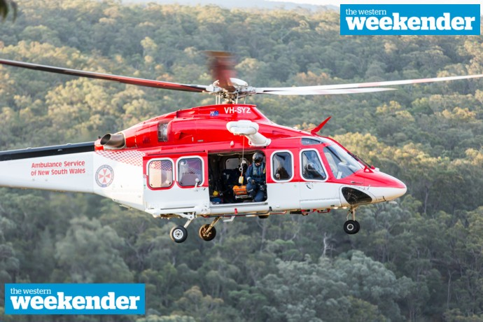 The rescue helicopter at the scene in Mulgoa. Photo: Megan Dunn