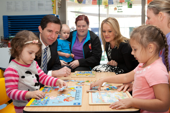 Minister for Education Senator Simon Birmingham and Member for Lindsay Fiona Scott at Spunky Monkeys Early Learning Centre in Penrith. Photo: Melinda Jane.