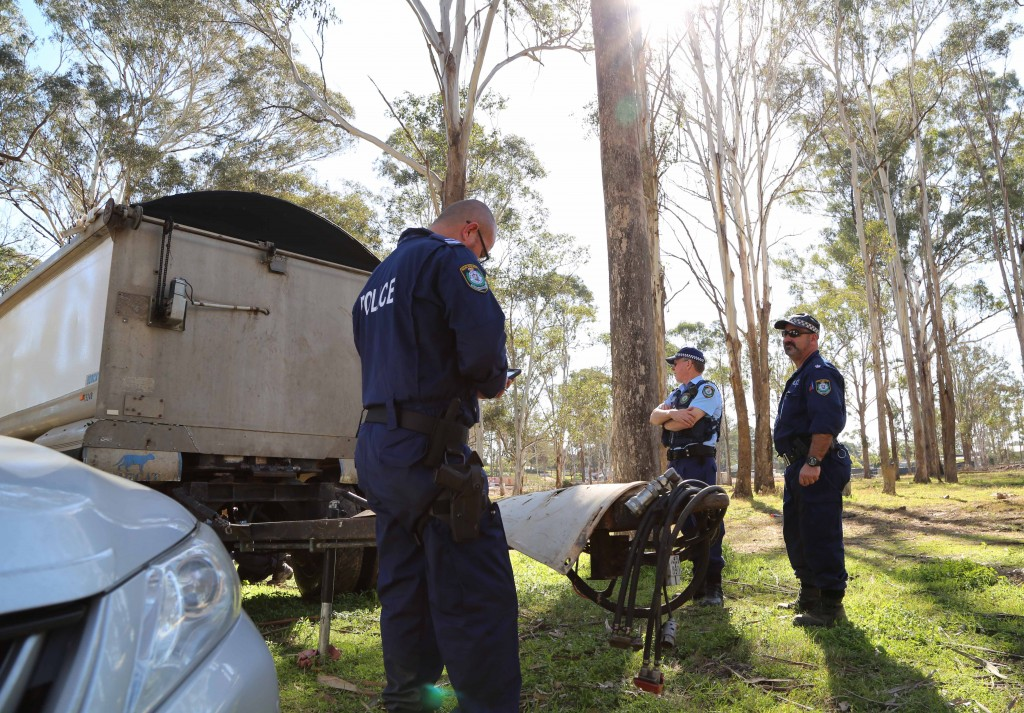 Officers on the scene on Tuesday. Photo: NSW Police Force
