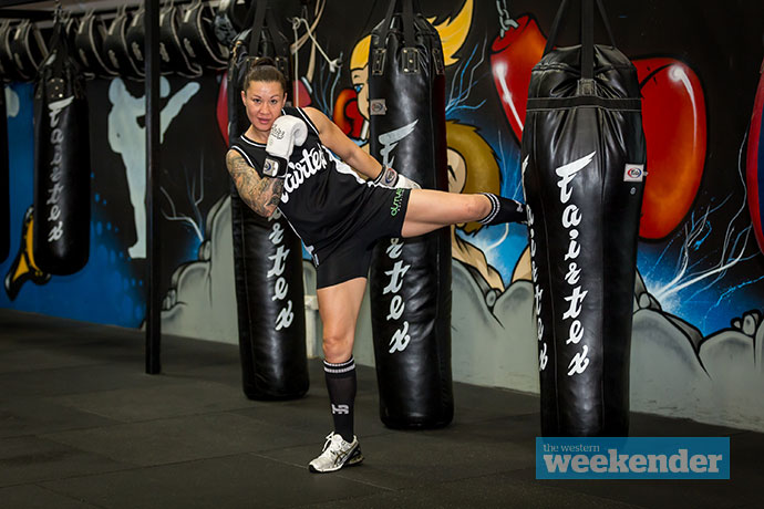 Penrith resident Arlene Blencowe trains ahead of her big fight this weekend. Photo: Megan Dunn