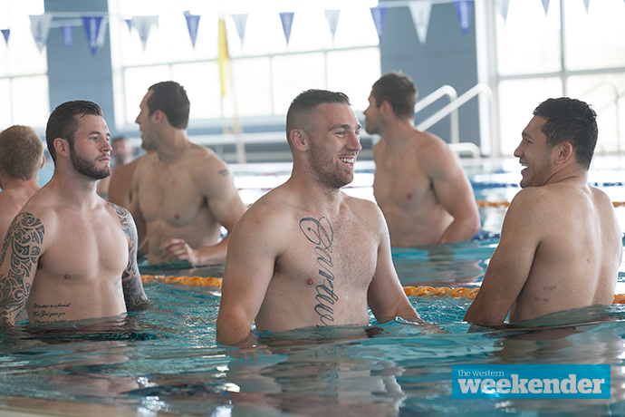 Bryce Cartwright at a recovery session on Monday. Photo: Melinda Jane