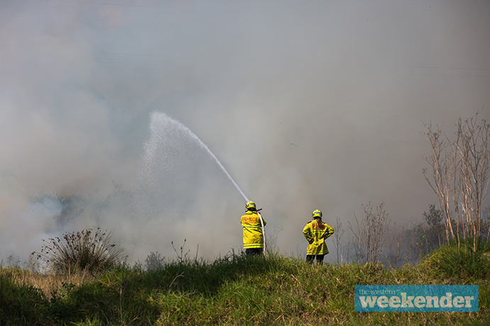 Fire crews work on last Friday's fire at Colyton. Photo: Megan Dunn