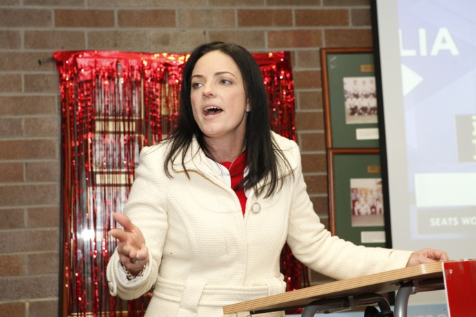 Emma Husar addressing her volunteers and supporters. Photo: Melinda Jane