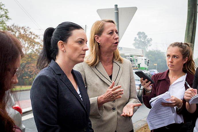 Emma Husar and Sharon Bird speak to the media on Monday. Photo: Megan Dunn