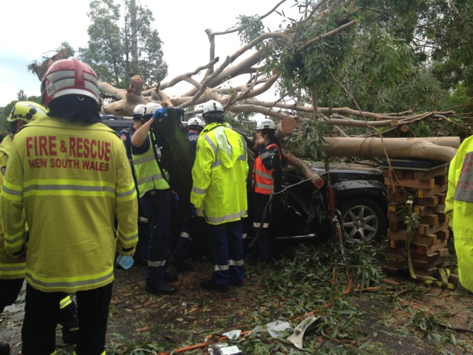 Emergency crews work to free the woman trapped in Emu Plains. Photo: CareFlight