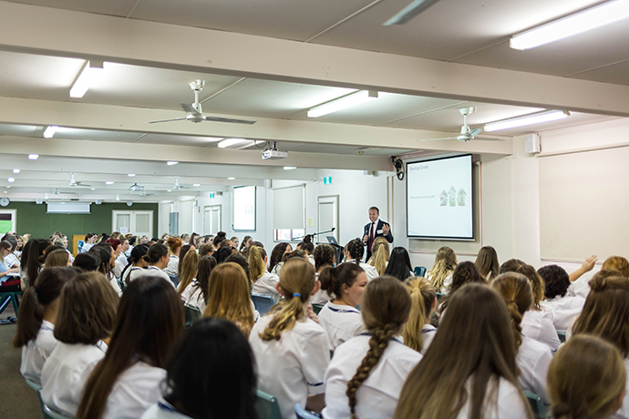 Mark Stevenson presenting to students at Caroline Chisholm College. Photo: Megan Dunn