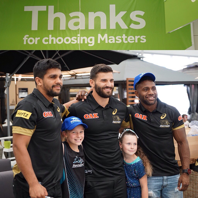 Penrith Panthers players at the Masters grand opening. Photo: Penrith Panthers