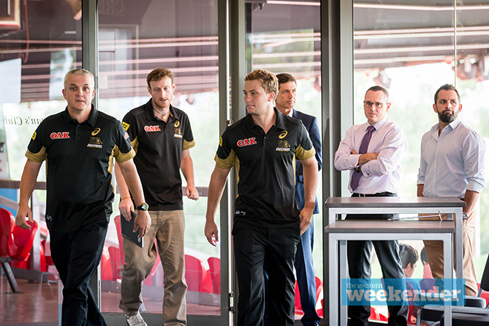 Anthony Griffin and Matt Moylan arrive at Wednesday's press conference. Photo: Megan Dunn