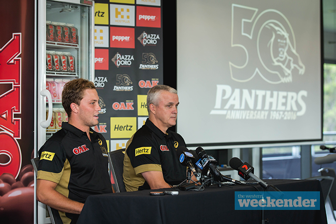 Matt Moylan and Anthony Griffin today. Photo: Megan Dunn