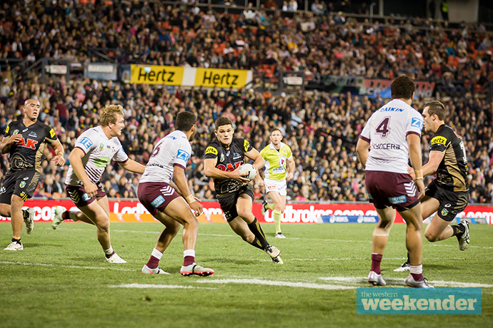 Nathan Cleary takes the line on against Manly. Photo: Megan Dunn