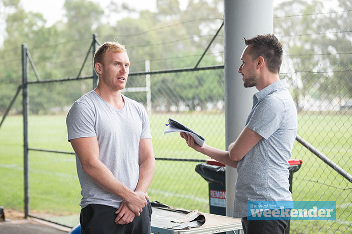 Peter Wallace speaks with Weekender journalist Nathan Taylor on Tuesday. Photo: Megan Dunn.