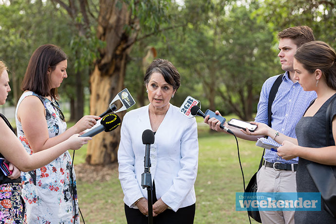 Pru Goward speaks with the media after chatting with students. Photo: Megan Dunn