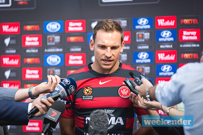 Brendon Santalab speaking to the media. Photo: Megan Dunn