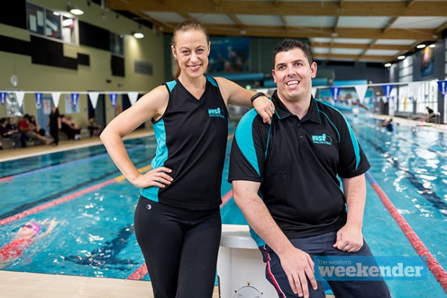 676d11cb17 Sean Webber with Julie Fletcher from Nepean Aquatic Centre. Photo  Megan  Dunn