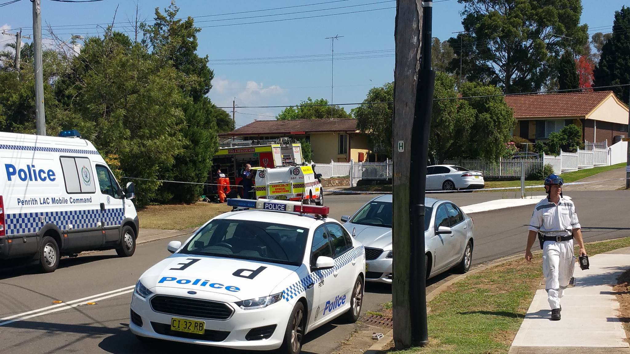 Police on the scene in South Penrith. Photo: Emily Newton