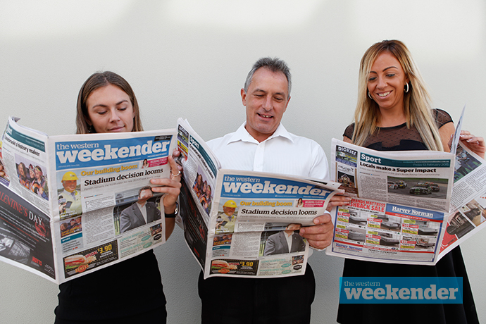 Journalist Dale Drinkwater with sales staff Andrew Harris and Katie Grasso