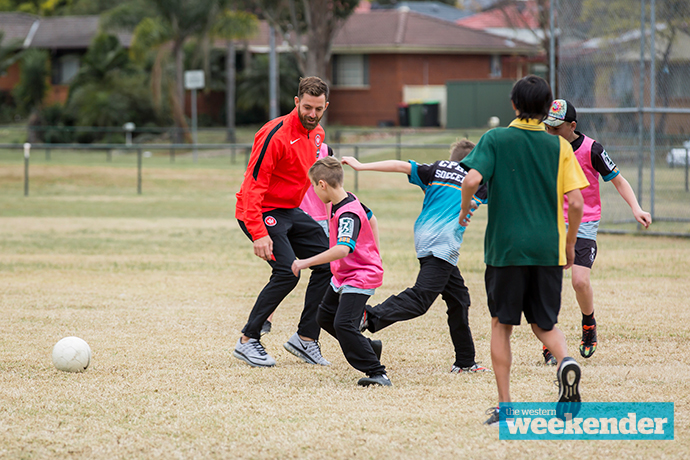 Jerrad Tyson taking part in a skills clinic last week. Photo: Megan Dunn