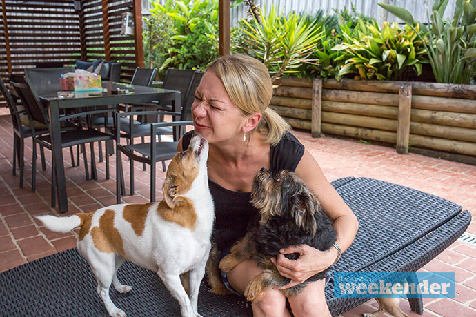 Vanessa Blazi with some of her furry friends, including Normi. Photo: Megan Dunn