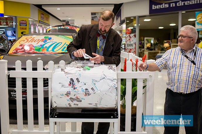 The winner is drawn at the Penrith Homemaker Centre. Photo: Megan Dunn