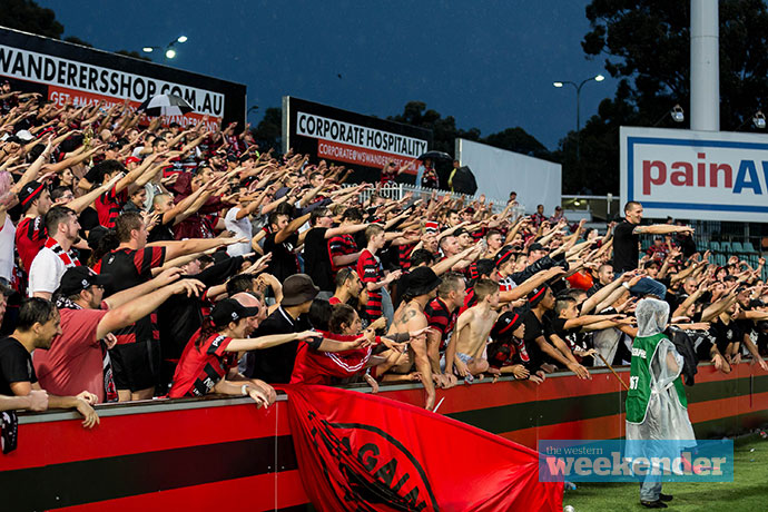 Wanderers fans showing their passion at Pirtek Stadium