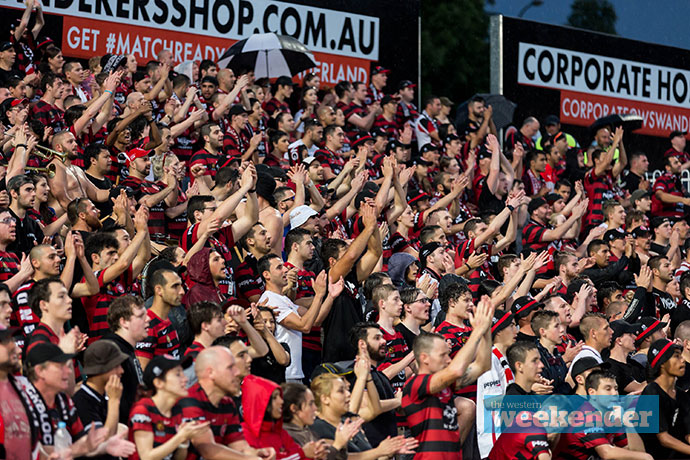 Wanderers fans cheering on their team. Photo: Megan Dunn