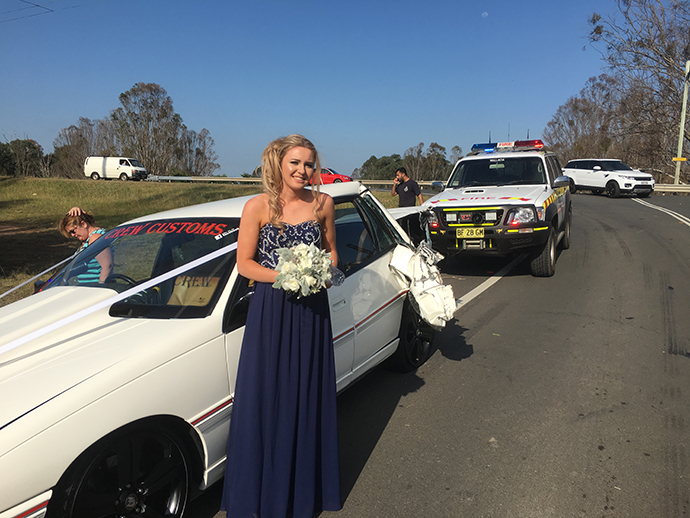 One of Mrs Cole's bridesmaids following the crash
