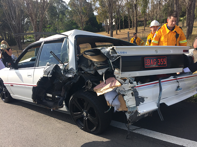 Bride more than fashionably late after accident on the way
