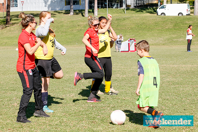 The Wanderers take part in a coaching clinic on Tuesday. Photo: Melinda Jane